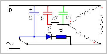 Как подключить трехфазный двигатель 380 в однофазную сеть 220 7