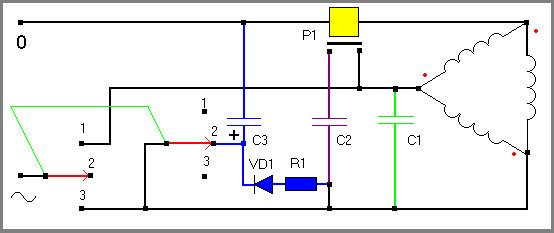 Как подключить трехфазный двигатель 380 в однофазную сеть 220 8